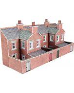 Bouwpakket N: half relief rijtjeshuizen rode baksteen achterzijde - Metcalfe - PN176