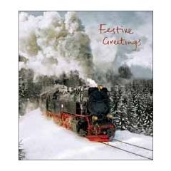 5 kerstkaarten woodmansterne - festive greetings - stoomtrein in de sneeuw