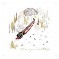 luxe kerstkaart woodmansterne - merry christmas - stoomtrein