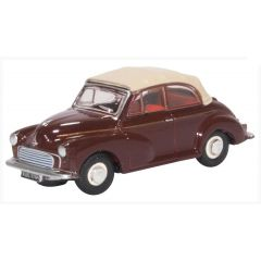 Morris Minor convertible - rood wit - Oxford Diecast - schaal OO