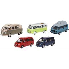 Set van 5 VW campers - T1/T2/T3/T4/T5 - Oxford Diecast - schaal OO