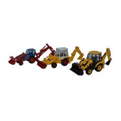 3 delig JCB tractor set - Oxford Diecast - schaal OO