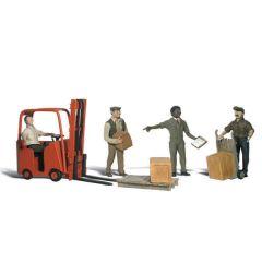 Magazijnmedewerkers en vorkheftruck - Woodland scenics A2192 N figuren
