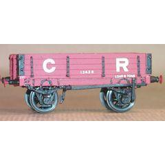 Witmetalen bouwpakket - open goederen wagon met laadkleppen van de Caledonian Railway