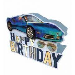 3d verjaardagskaart paper dazzle - happy birthday - auto en zonnebril