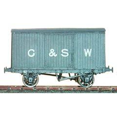 Witmetalen bouwpakket -  gesloten goederenwagon van de Glasgow & South Western Railway, LMS & BR