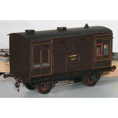 Messing bouwpakket - Paarden transport wagon met groom afdeling  van LNWR, LMS en BR