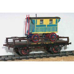 Messing bouwpakket - platte wagon voor transport van rijtuigen van LNWR, LMS en BR