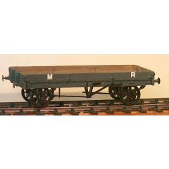 Witmetalen bouwpakket -  lange lage open goederen wagon van de Midland Railway, LMS & BR