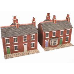 Bouwpakket N: 2 rijtjeshuizen rood baksteen - Metcalfe - PN103