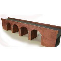Bouwpakket HO/OO: dubbelspoor viaduct - rood baksteen - Metcalfe - PO240