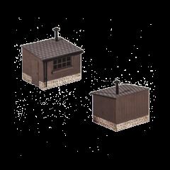 Bouwpakket HO: 2 houten hutjes voor langs het spoor
