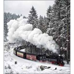 5 kerstkaarten woodmansterne - stoomtrein in de sneeuw